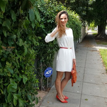 Bell Sleeved White Lace Dress, Aldo Heels, Banana Republic Skinny Belt, Botkier Handbag (5)